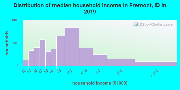 Fremont County household income distribution in 2009