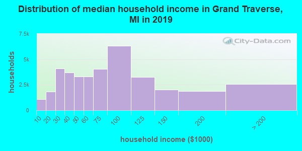 Grand Traverse County household income distribution in 2009