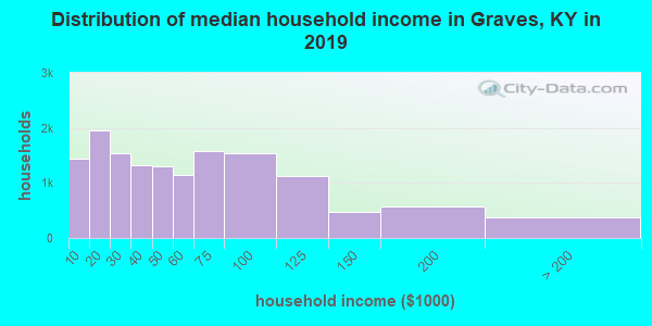 Graves County household income distribution in 2009