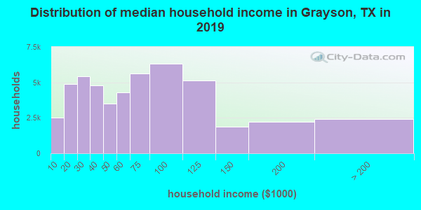 Grayson County household income distribution in 2009