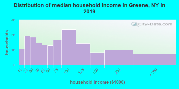 Greene County household income distribution in 2009