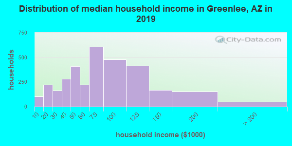 Greenlee County household income distribution in 2009