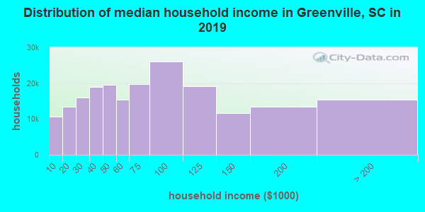 Greenville County household income distribution in 2009