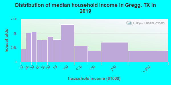 Gregg County household income distribution in 2009