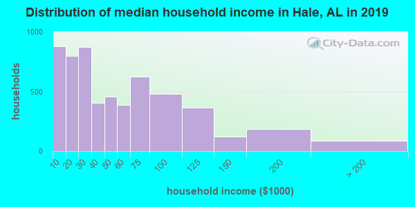 Hale County household income distribution in 2009