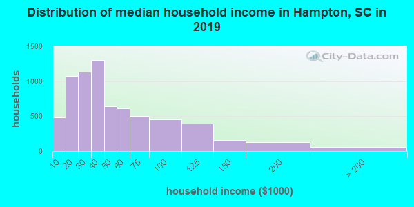 Hampton County household income distribution in 2009