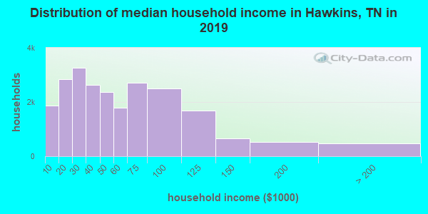 Hawkins County household income distribution in 2009