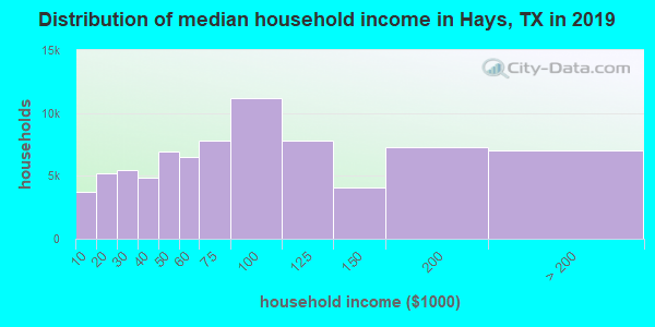 Hays County household income distribution in 2009
