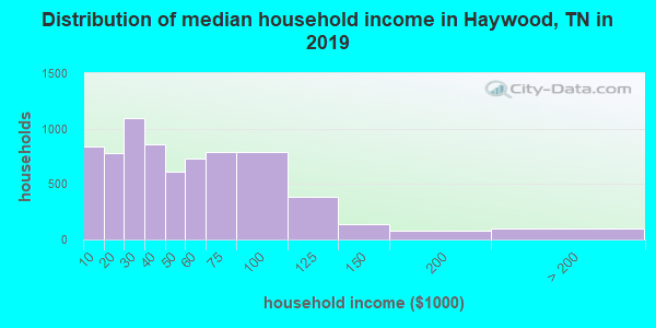 Haywood County household income distribution in 2009