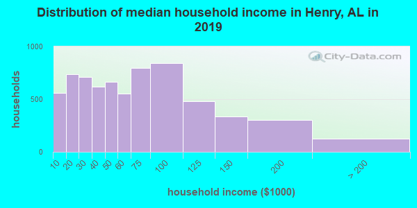 Henry County household income distribution in 2009