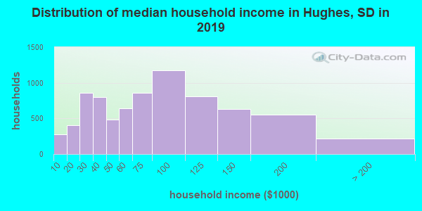 Hughes County household income distribution in 2009