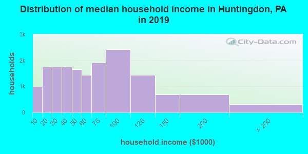 Huntingdon County household income distribution in 2009