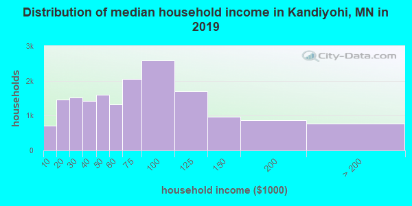 Kandiyohi County household income distribution in 2009