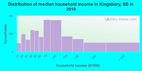 Kingsbury County household income distribution in 2009