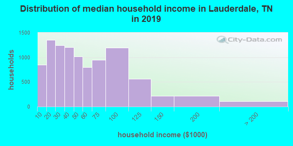 Lauderdale County household income distribution in 2009