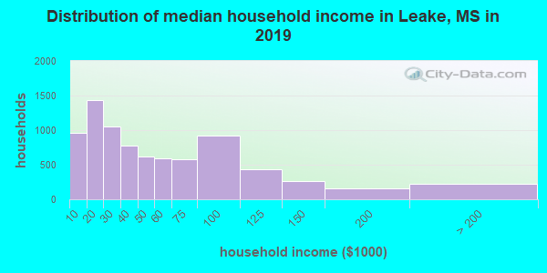 Leake County household income distribution in 2009