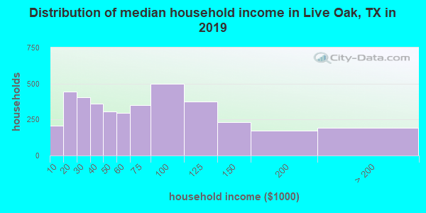 Live Oak County household income distribution in 2009