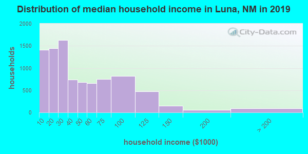 Luna County household income distribution in 2009