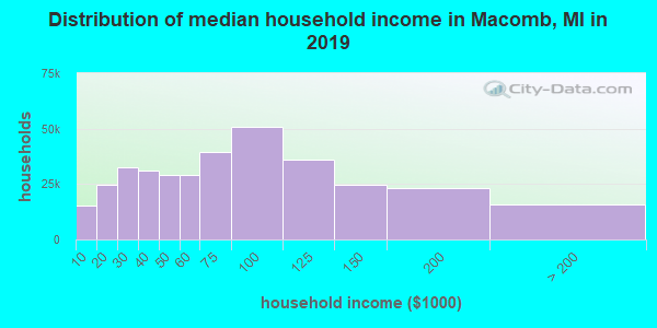 Macomb County household income distribution in 2009