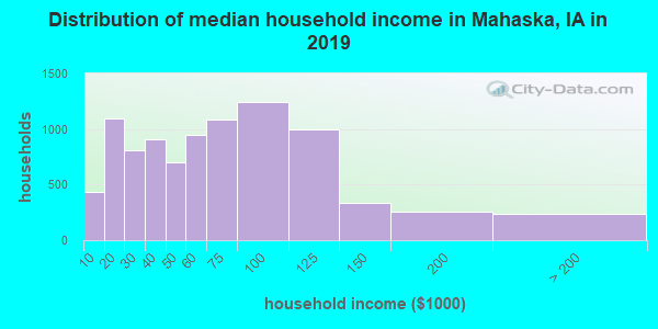Mahaska County household income distribution in 2009