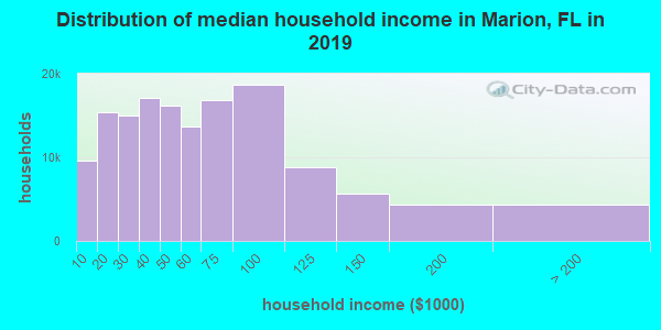 Marion County household income distribution in 2009