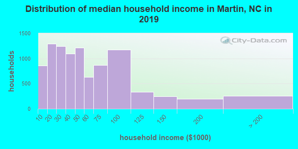Martin County household income distribution in 2009