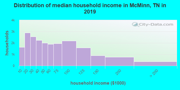 McMinn County household income distribution in 2009