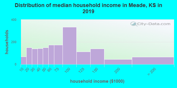 Meade County household income distribution in 2009