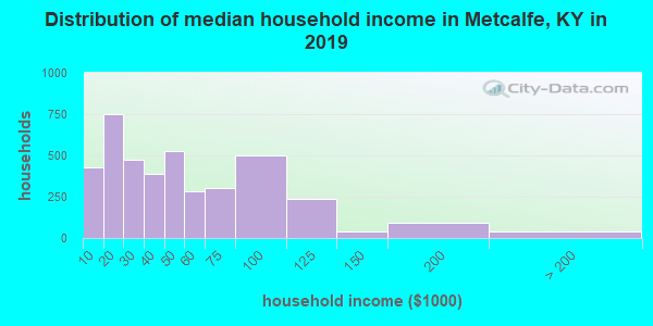Metcalfe County household income distribution in 2009