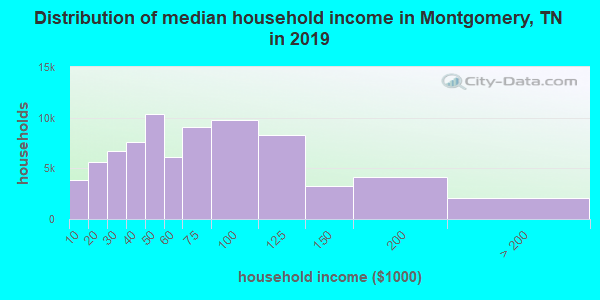 Montgomery County household income distribution in 2009