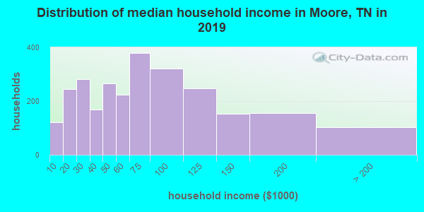 Moore County household income distribution in 2009