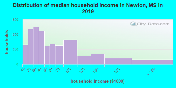 Newton County household income distribution in 2009