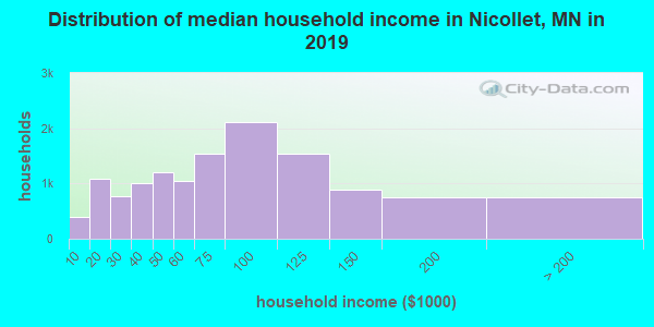 Nicollet County household income distribution in 2009