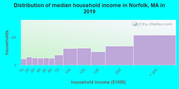 Norfolk County household income distribution in 2009