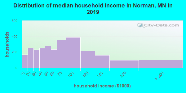 Norman County household income distribution in 2009