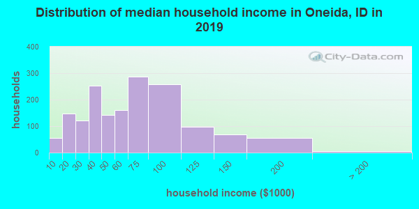 Oneida County household income distribution in 2009