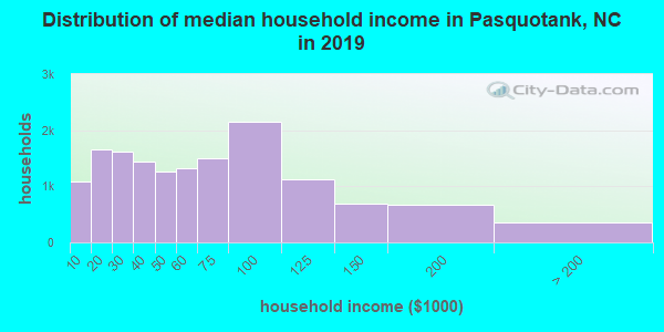 Pasquotank County household income distribution in 2009