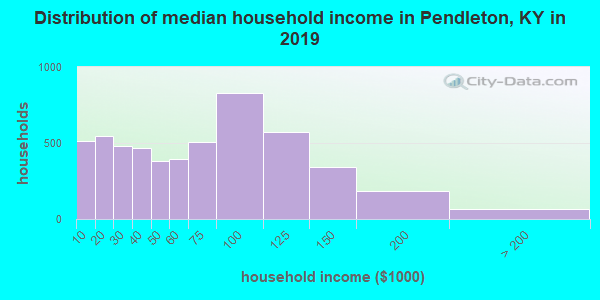 Pendleton County household income distribution in 2009