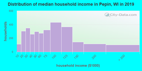 Pepin County household income distribution in 2009
