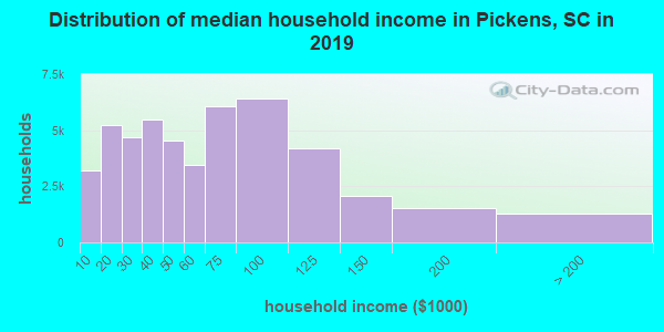 Pickens County household income distribution in 2009