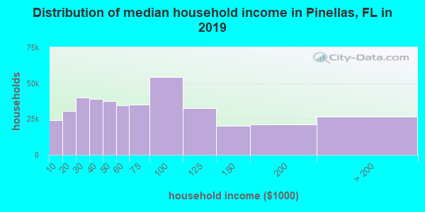 Pinellas County household income distribution in 2009