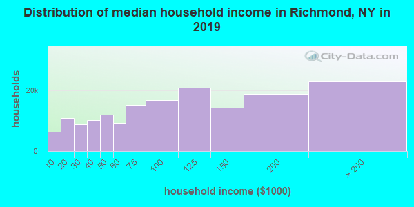 Richmond County household income distribution in 2009