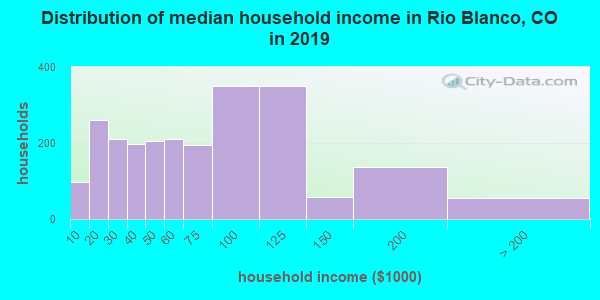 Rio Blanco County household income distribution in 2009