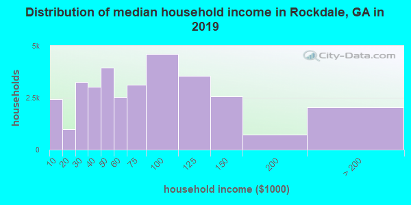 Rockdale County household income distribution in 2009