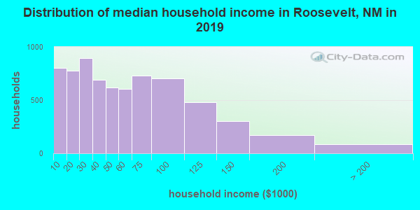Roosevelt County household income distribution in 2009