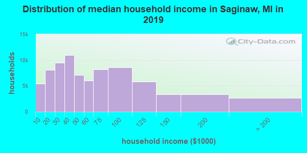 Saginaw County household income distribution in 2009
