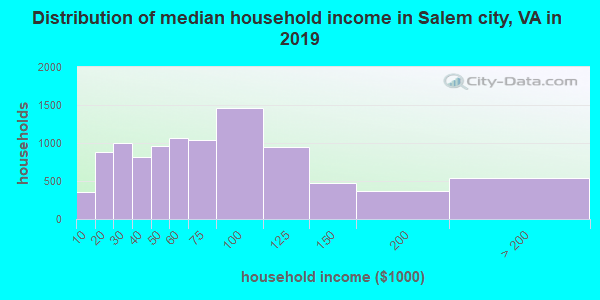 Salem city household income distribution in 2009