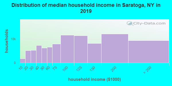 Saratoga County household income distribution in 2009