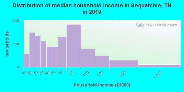 Sequatchie County household income distribution in 2009