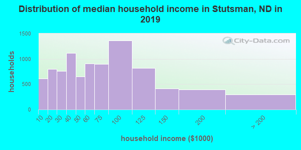 Stutsman County household income distribution in 2009